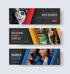 Design of black banners with diagonal colored vector