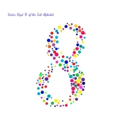 Digit 8 from Bright Color Ink Blots with vector image