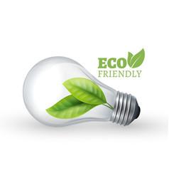 Eco light bulb eco friendly glass bulb with green vector