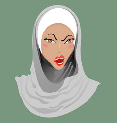 Emoticon muslim girl anger vector