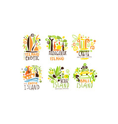 exotic countries labels design set tropic vector image
