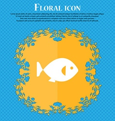 Fish icon sign Floral flat design on a blue vector