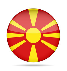 Flag of macedonia shiny round button vector