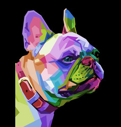 french bulldog on geometric pop art style vector image