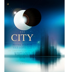 Futuristic background with city and eclipse vector