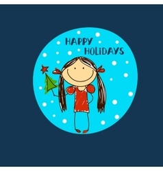Girl with christmas tree in hand Holidays vector image