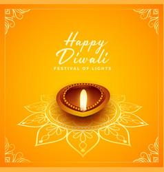Happy diwali festival design with oil lamp diya vector