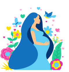happy pregnancy pretty pregnant woman vector image