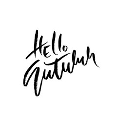 hello autumn hand drawn lettering isolated on vector image