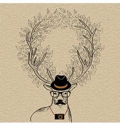 Hipster reindeer greeting card vector