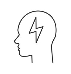 human head with energy symbol linear icon vector image