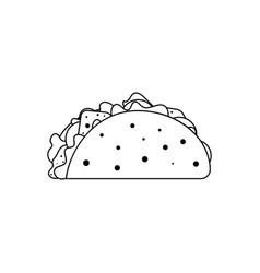 Icon mexican taco in tortilla vector