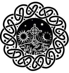 Image of celtic cross with moon and sun vector