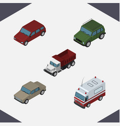 isometric car set of auto first-aid car and vector image