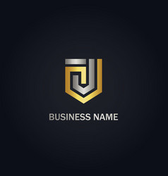 j initial shape line shield gold logo vector image