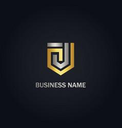 J initial shape line shield gold logo vector