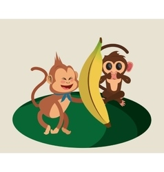 jungle monkeys cartoon vector image