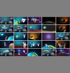 Large set solar system scenes vector