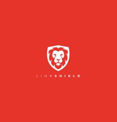 lion shield logo head in shield logo vector image