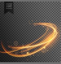 Magical golden light effect on transparent vector