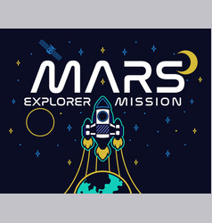 mars explore mission print vector image