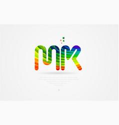 Mk m k rainbow colored alphabet letter logo vector