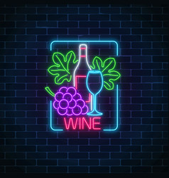 neon glowing sign of wine in rectangle frame vector image