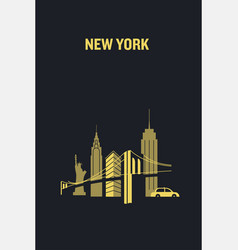 new york city iconic buildings flat vector image