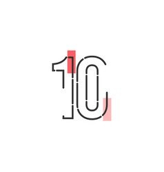 Number 10 template design design for anniversary vector