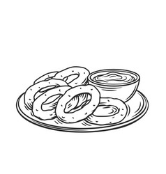 Onion rings hand drawn fast food vector