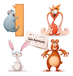panda monster rabbit bear - set animals vector image