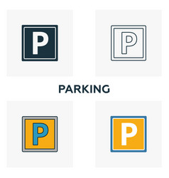 parking icon set four elements in diferent styles vector image