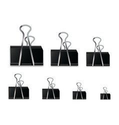 Realistic black paper clip isolated on white vector