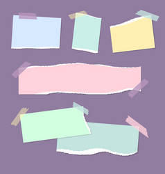 Realistic empty torn colored paper notes with vector