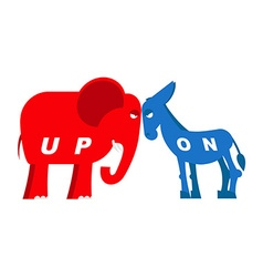 Red elephant and blue donkey symbols of political vector image