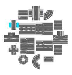 road elements constructor icons set cartoon style vector image