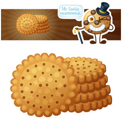 round crackers cookies cartoon vector image