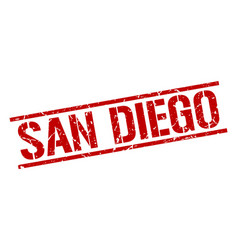San diego red square stamp vector