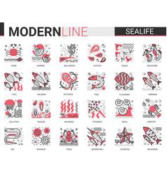 sealife flat line mini concept symbols red black vector image