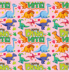 Seamless pattern with cute dinosaurs and font vector