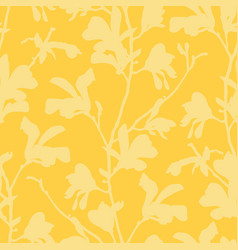 seamless pattern with magnolia tree blossom vector image