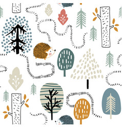 Semless woodland pattern with hedgehogs vector