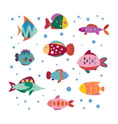 set cute sea fish vector image