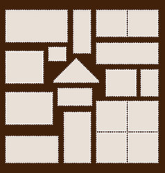 set postal frames icons stamps vector image