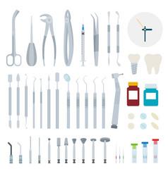 Set stomatology and dental tools flat vector