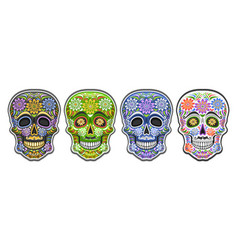 set sugar skulls vector image
