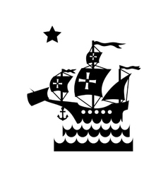 Ship with flag of Columbus in sea icon vector