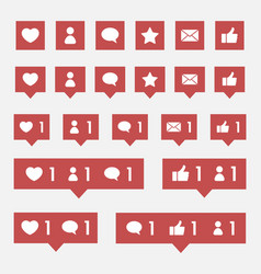 social media notification icon with likes vector image