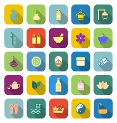 Spa color icons with long shadow vector
