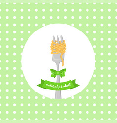 spaghetti with fork with bow vector image